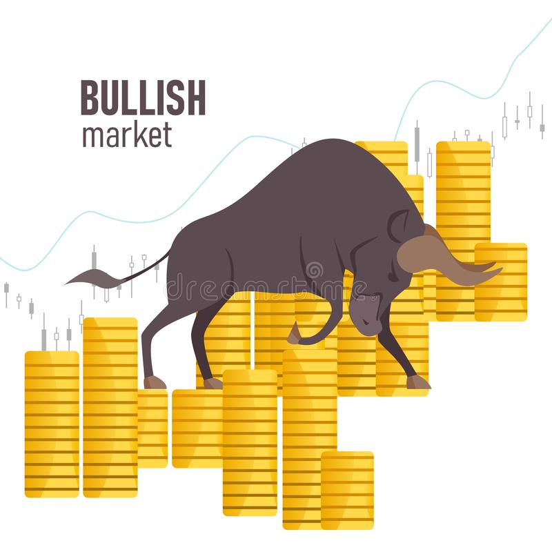 Bullish market. The chart and the indicator show an uptrend. Bull market on stock exchange. Bull among coins. Vector. Bullish market. The chart and the stock illustration