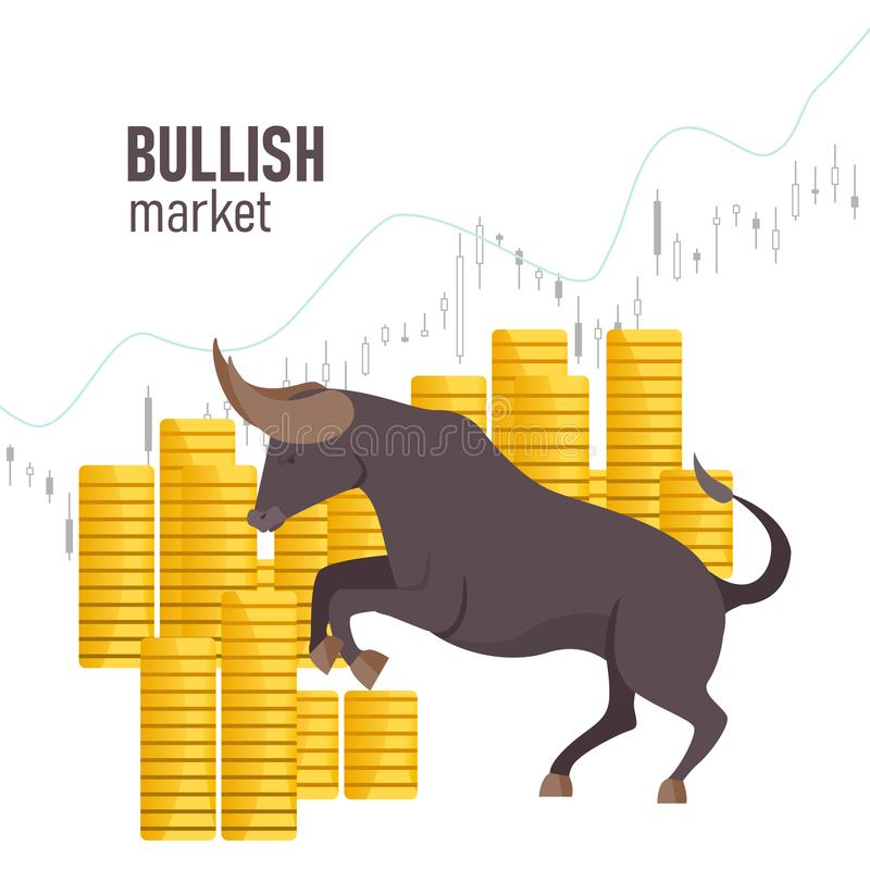 Bullish market. The chart and the indicator show an uptrend. Bull market on stock exchange. Bull among coins. Vector. Bullish market. The chart and the vector illustration