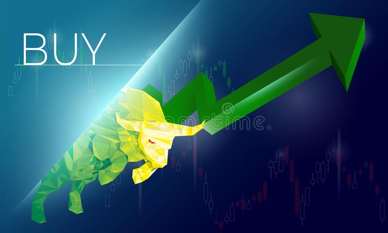 Bullish symbols on stock market vector illustration. vector Forex or commodity charts, on abstract background. The symbol of the t. He Bull. The stock market up stock illustration