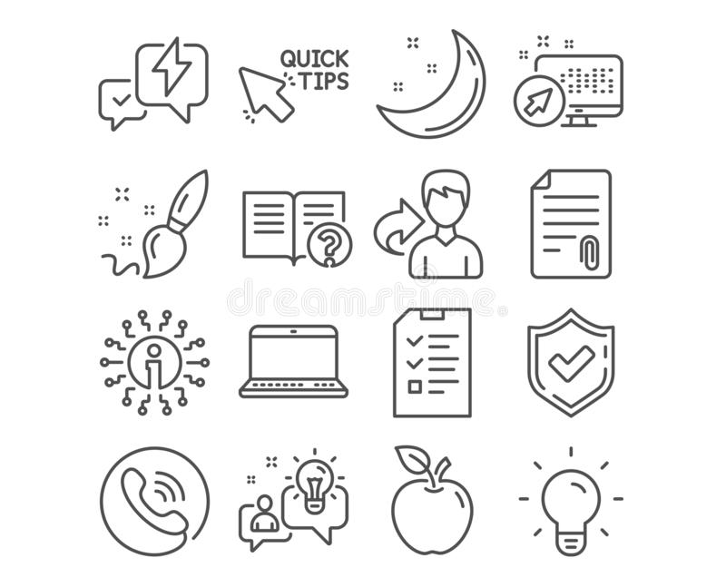 Bullone di fulmine, di idea ed icone rapide di punte Il pennello, i segni di aiuto e di intervista Vettore illustrazione di stock
