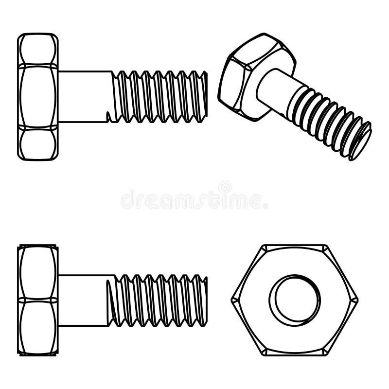 Bullone e noce dell'acciaio inossidabile Illustrazione di vettore royalty illustrazione gratis