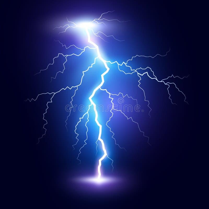 Bullone o colpo di fulmine del folgore Tempesta di scoppio di potere magico o del fulmine blu Illustrazione di vettore illustrazione vettoriale