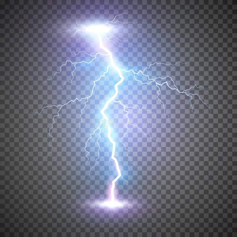 Bullone o colpo di fulmine del folgore Tempesta di scoppio di potere magico o del fulmine blu Illustrazione di vettore su fondo t illustrazione vettoriale