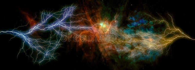 Bulloni d'alleggerimento della galassia straniera di fantasia con le nubi ardenti, stelle illustrazione vettoriale