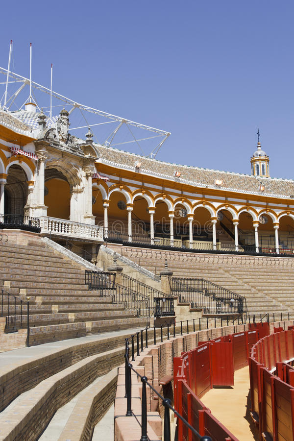 Bullring. Plaza de Toros. Detail of the bullring in Seville: the image shows the Royal loge royalty free stock photos