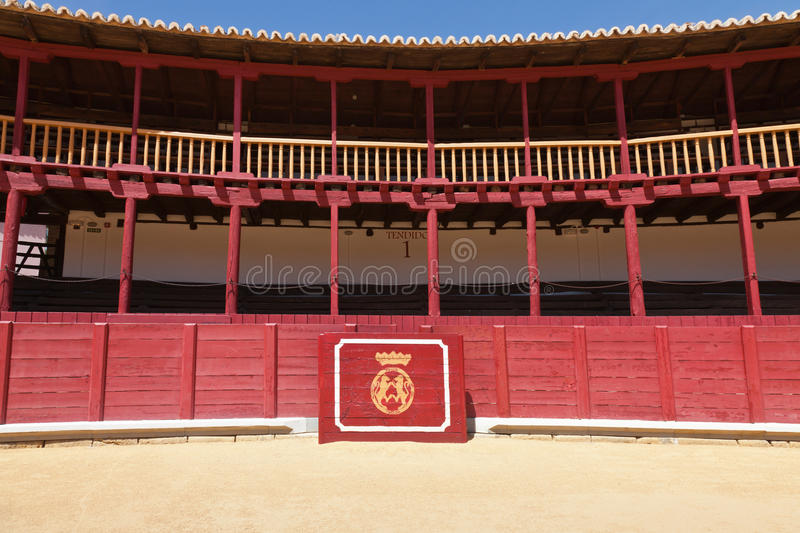 Bullring. Of Toro in Zamora, Spain, with the shield of the city stock images