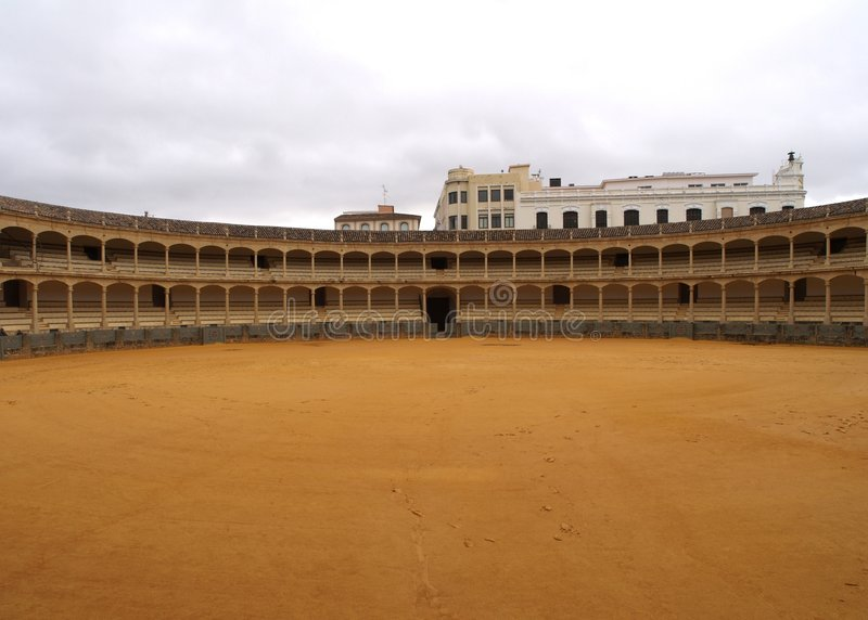 Bullring. View of a spanish bullring in ronda, Spain. The oldest in Spain and one of the most famous bullrings in the World royalty free stock photo