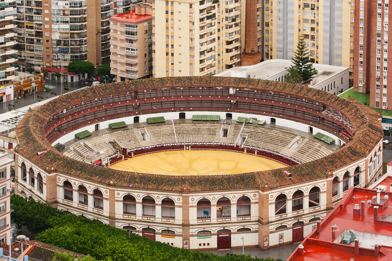 Bullring at Malaga Plaza de toros de La Malagueta. Bullring at Malaga: Plaza de toros de La Malagueta Andalusia Spain view from above stock photo