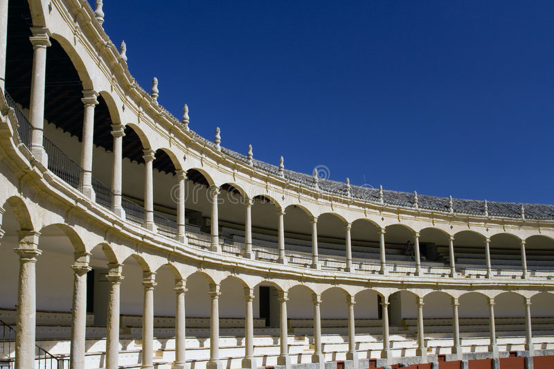 Bullring in Spain. Famous bullring in Spain, showing the seating area royalty free stock photo