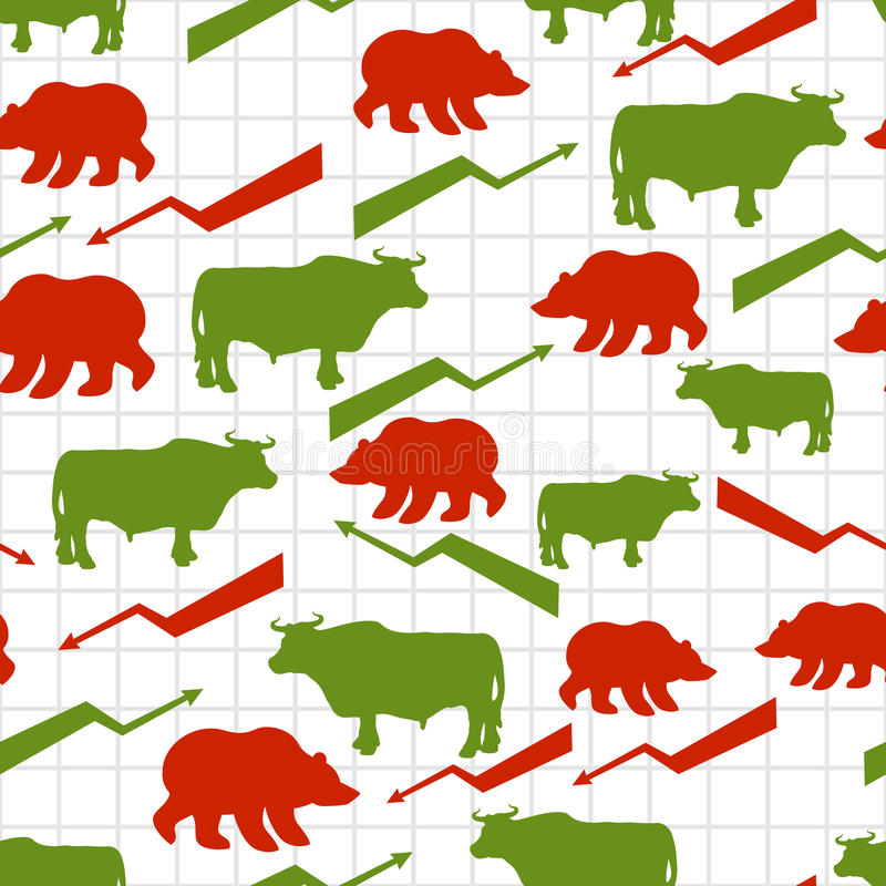 Bulls and bears seamless pattern. Exchange traders. Red up arrow stock illustration