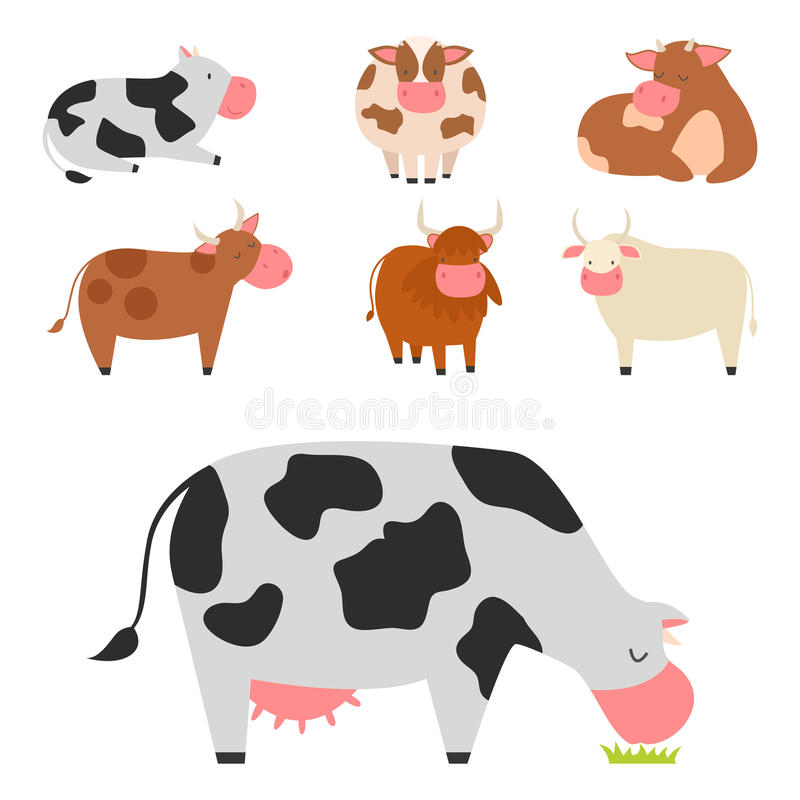 Free Bulls Cows Farm Animal Character Vector Illustration Cattle Mammal Nature Wild Beef Agriculture. Royalty Free Stock Photos - 90980698