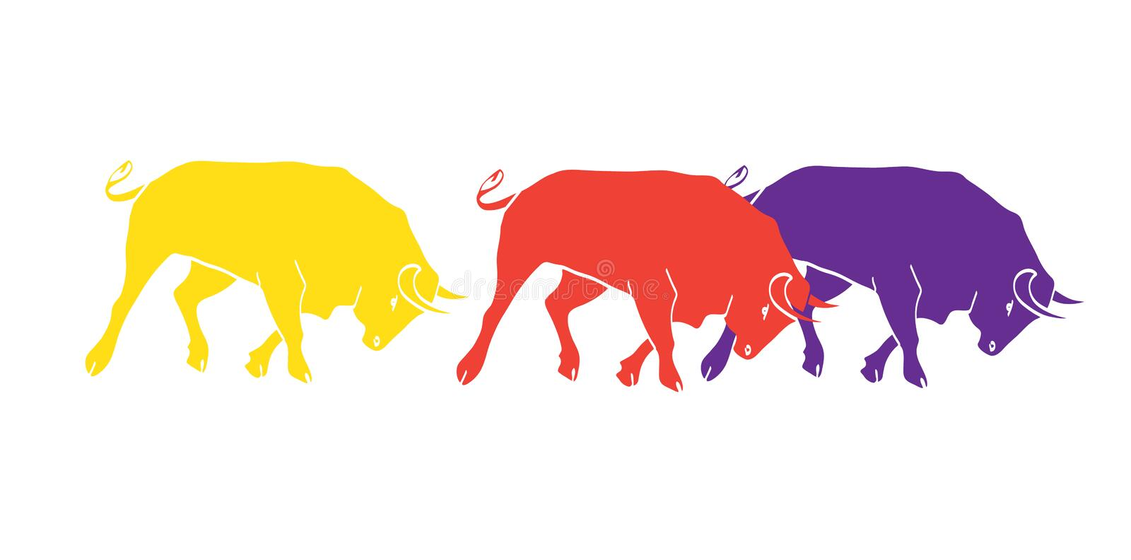 Bulls Spain. Bulls border isolated on white for Spain festivals abstract poster. Spanish Festivals. The running of the bulls is the main attraction in this vector illustration