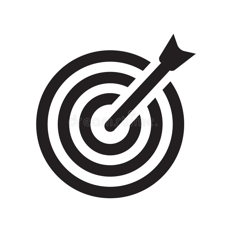 Bullseye με το εικονίδιο συμβόλων στόχων Καθιερώνον τη μόδα Bullseye με το στόχο sy απεικόνιση αποθεμάτων