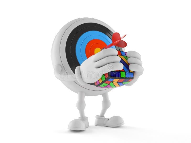 Bullseye charakter rozwiązuje łamigłówkę ilustracja wektor