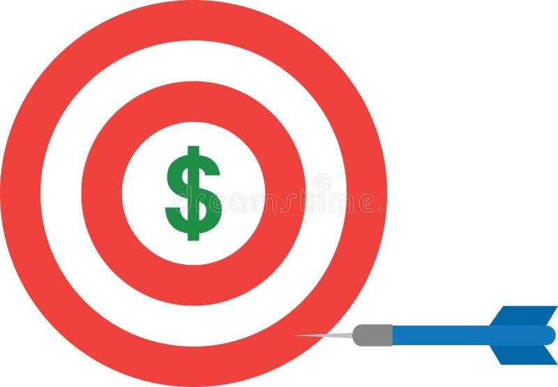 Bullseye com dólar e dardo ilustração stock