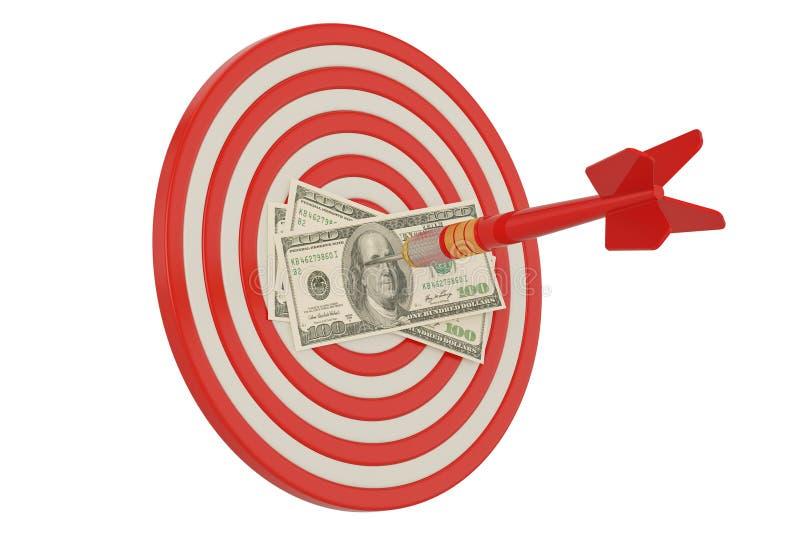Bullseye with dart and dollars over white background 3D illustration vector illustration