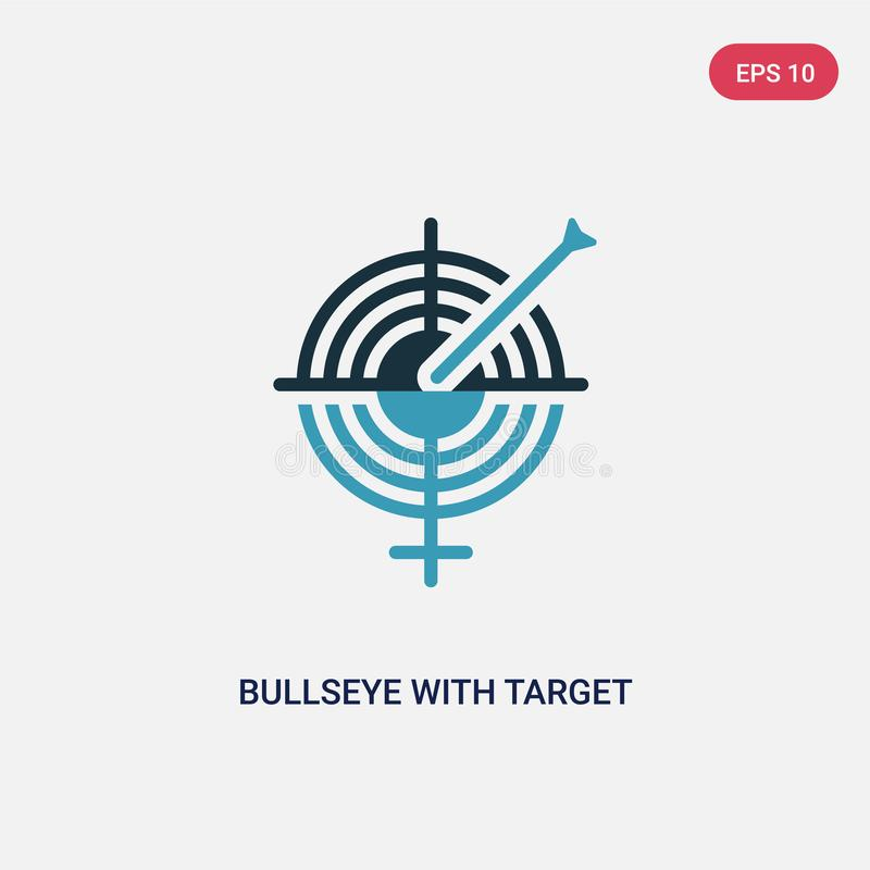 Bullseye för två färg med målvektorsymbolen från produktivitetsbegrepp den isolerade blåa bullseyen med symbol för målvektortecke stock illustrationer
