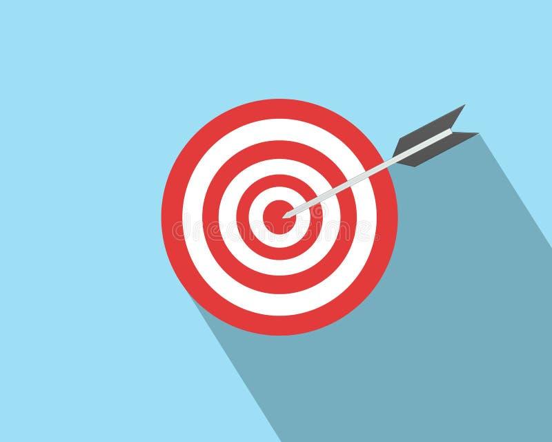 Bulls eye target dart arrow and long shadow royalty free stock images