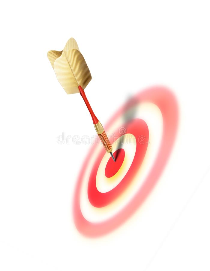 Bullseye success concept image with dart in the center of the target royalty free illustration