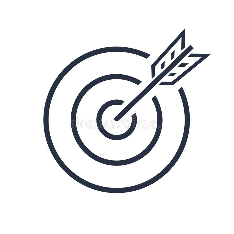 Free Bullseye Vector Icon. Target . Successful Shot In The Darts Shot. Isolated On White Background. Business Concept Symbol Stock Photo - 99901190