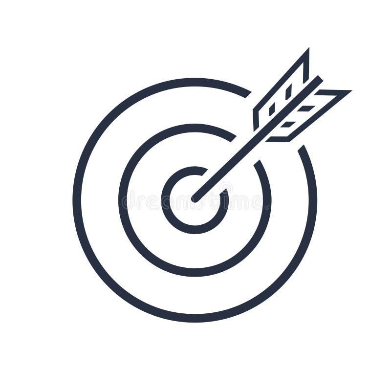Bullseye wektoru ikona cel pomyślny strzał w strzałka strzale pojedynczy białe tło Biznesowy pojęcie symbol ilustracja wektor