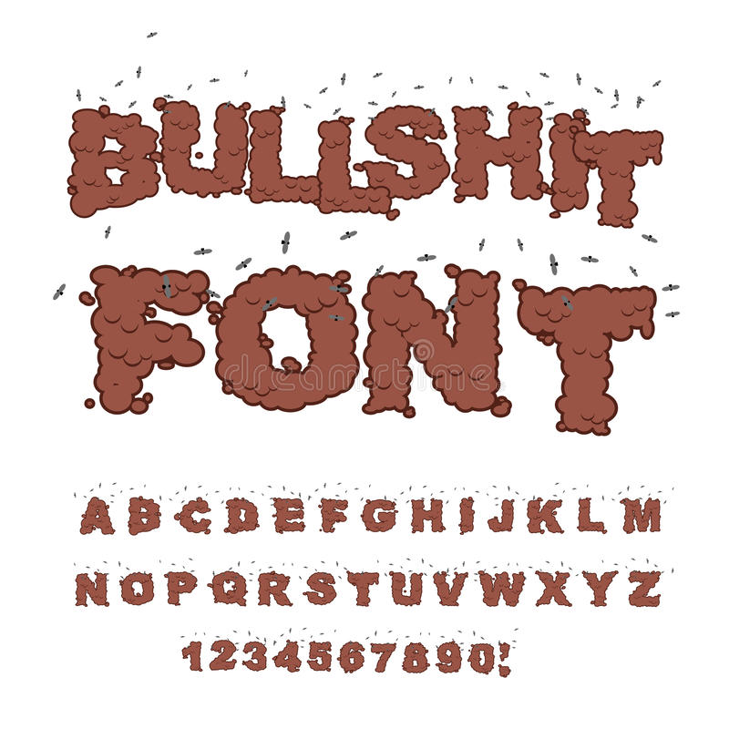 font. Alphabet of poop with flies. Shit alphabet and in vector illustration