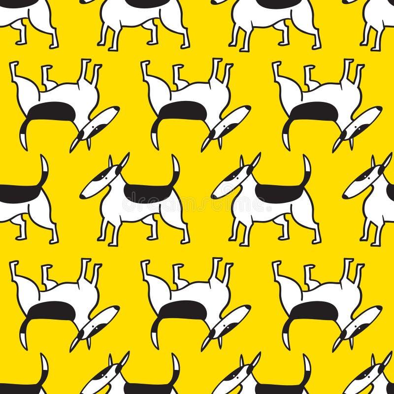 Bullterrierhundenahtloses Muster Hintergrund mit Haustiere charact vektor abbildung