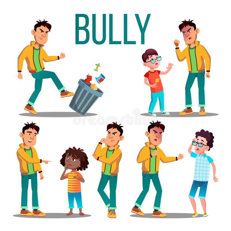 Bully Child Vector. Angry Bully Kid. Teenager Victim. Sad Boy, Girl Child. Illustration vector illustration