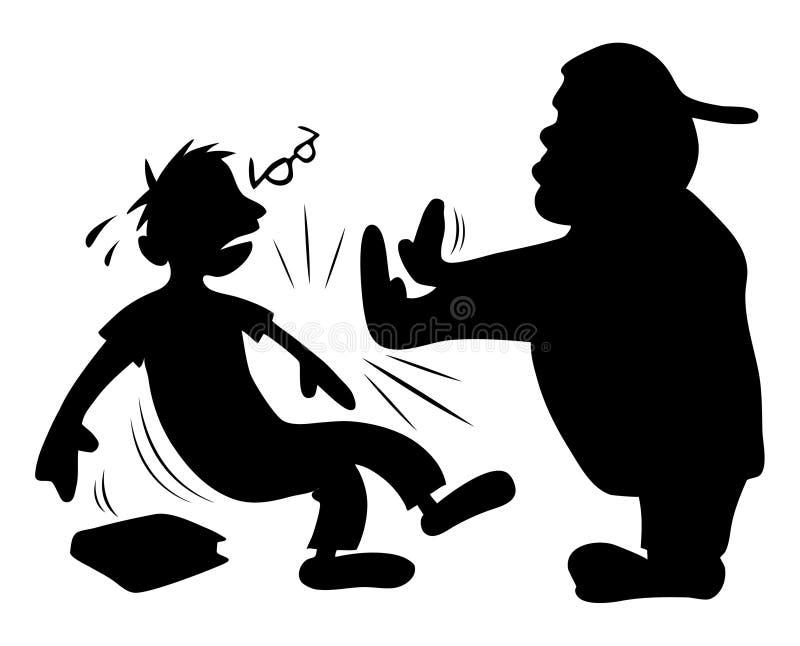 Bully que empurra a silhueta do lerdo ilustração do vetor