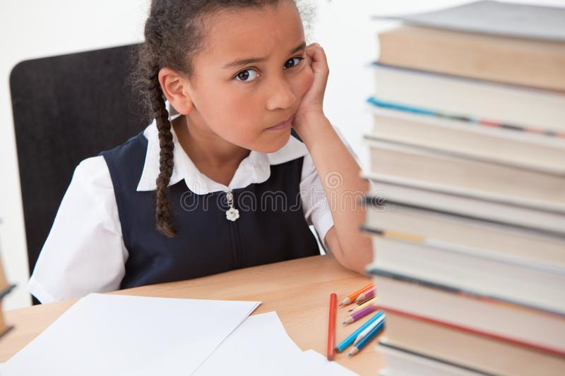 Bullying Concept Sad Mixed Race African American Girl at School stock image