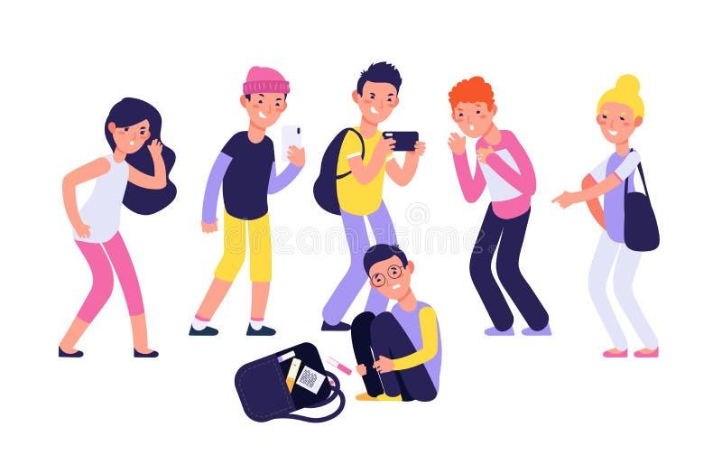 bullying Criança de grito triste infeliz da supressão negativa da sociedade das pessoas em crianças tiranizando da discriminação  ilustração stock
