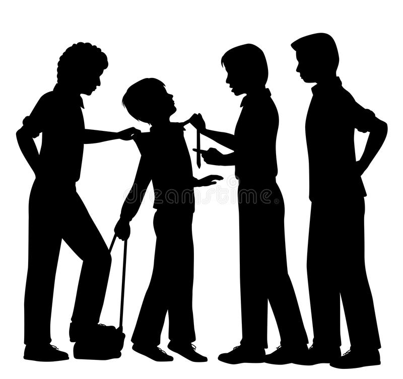 Bullying. Editable vector silhouettes of older boys bullying a younger boy with all figures as separate objects