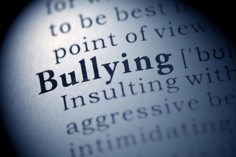 Bullying. Fake Dictionary, Dictionary definition of the word Bullying stock photo