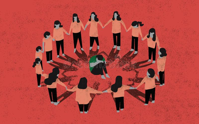 bullying Illustrazione di concetto Scena di oppressione del bambino illustrazione vettoriale