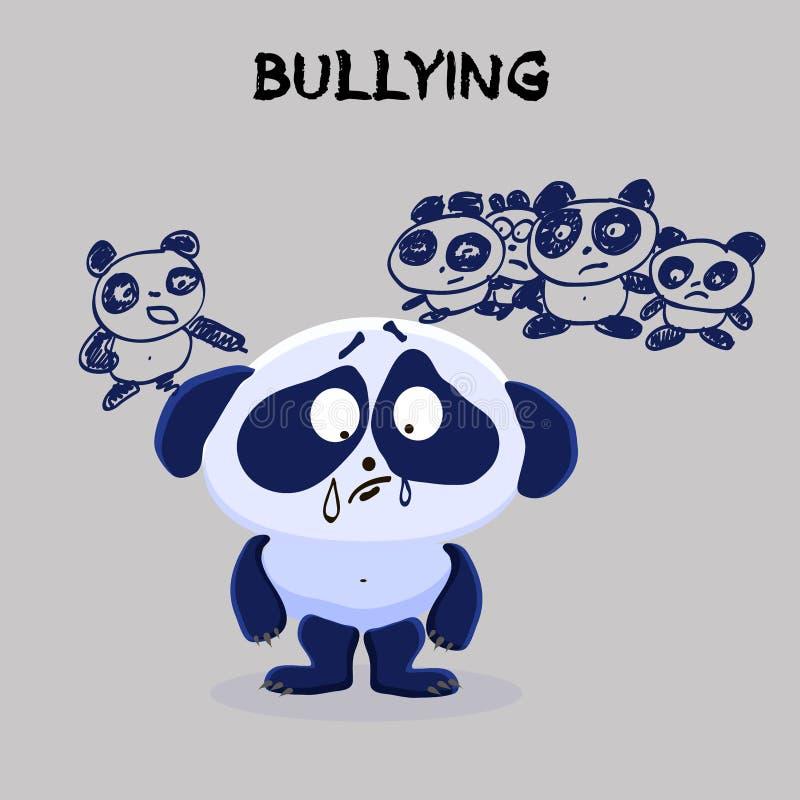 bullying Problema de saúde mental Panda triste pequena que está sendo tiranizada ilustração do vetor