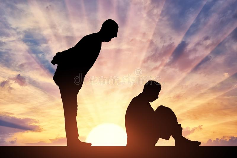 Bullying. Silhouette of scared worker man and angry boss man. Workplace bullying. Workplace bullying concept. Silhouette of a frightened man worker sitting on royalty free stock images