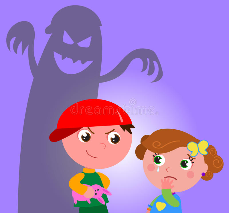 Bullying vector. Little girl frightened by a bad guy who have taken her teddy. Vector illustration stock illustration