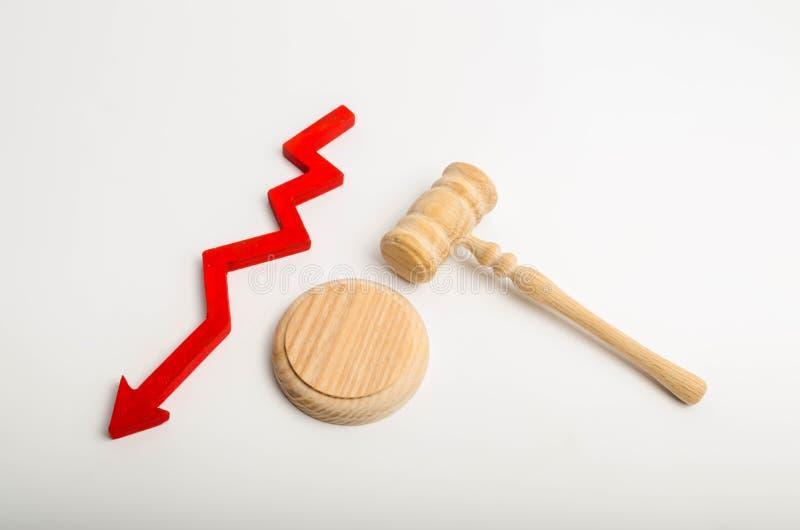 Bulta domaren och ner pilen begreppet av att förminska appellerar till domstolen Nedgång av frigivningar/övertygelser Misstro av  royaltyfria bilder