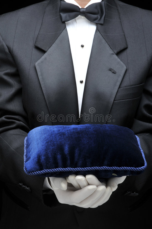 Bulter with Velvet Pillow stock images