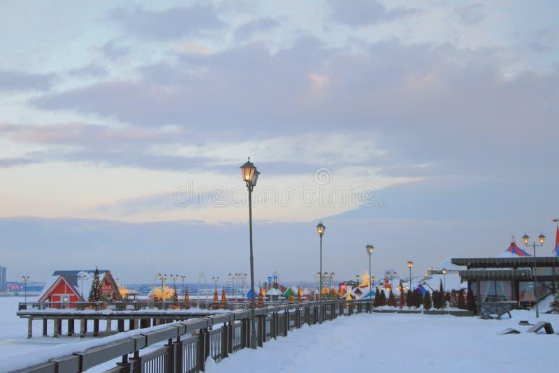 Bulwar w zima wieczór kazan Russia obrazy royalty free