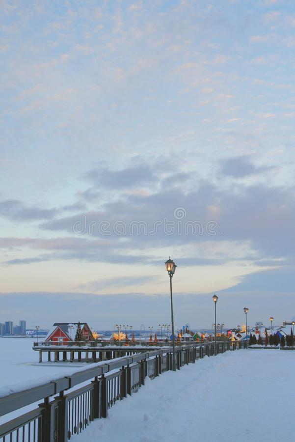 Bulwar, zima, wieczór kazan Russia obraz royalty free