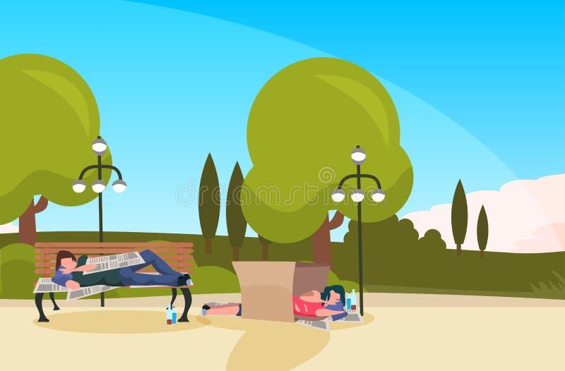Bum man woman sleeping outdoor urban park drunk beggars lying wooden bench cardboard box homeless concept landscape vector illustration