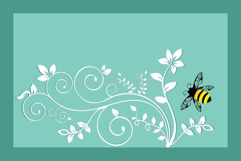 Bumble a abelha com folha ilustração stock