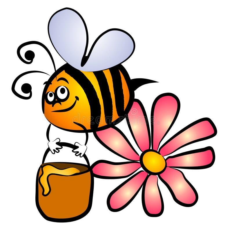 Bumble a arte de grampo do mel da abelha ilustração do vetor