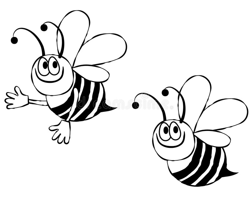 Bumble Bee Line Art. An illustration featuring your choice of bumble bees line art perfect for projects where color is not an option or undesired stock illustration