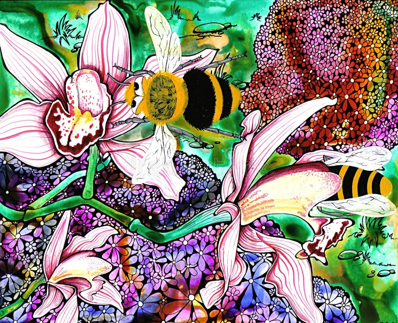 Bumble Bees. Pen and ink illustration of bees in the flowers royalty free illustration