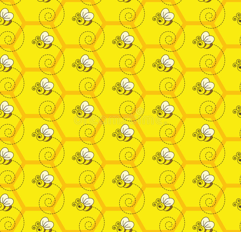 Bumblebee Honey Colony Seamless Pattern Background stock photos