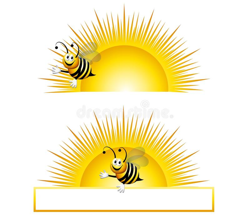 Bumblebee Sunrise. An illustration featuring your choice of bumblebee in front of sunrise stock illustration