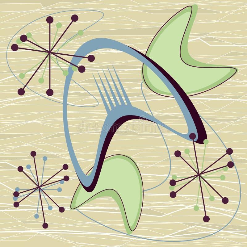 Bumerangue meados de Starburst do fundo do vintage do século dos anos 50 atômicos retros ilustração royalty free