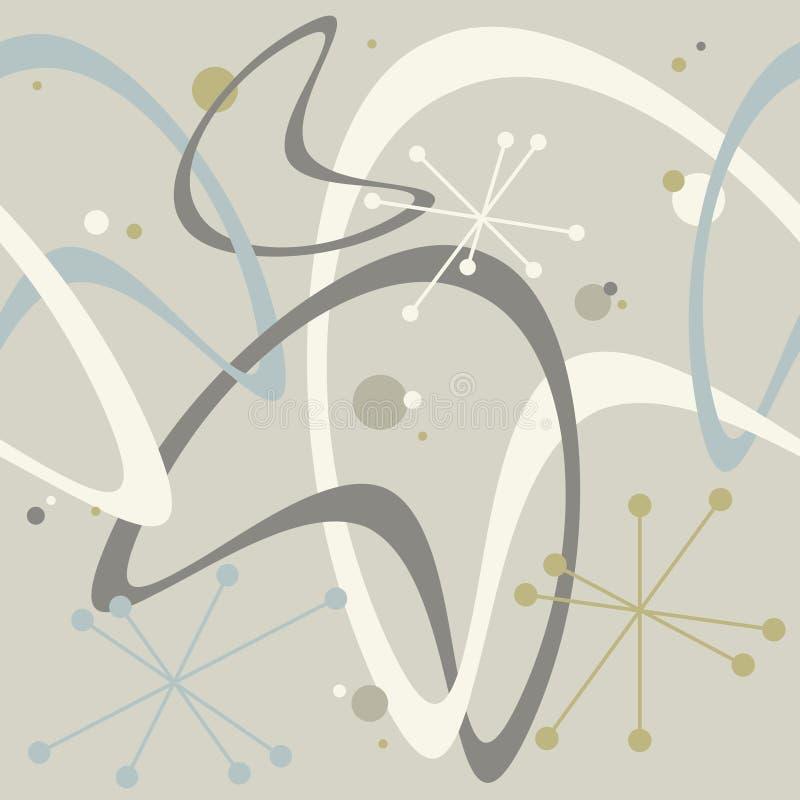 Bumerangue sem emenda Starburst do fundo do vintage meados de atômico retro do século dos anos 50 ilustração royalty free